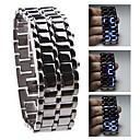 Unisex Blue LED Lava Style Black Steel Band Wrist Watch