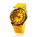 Fashionable Quartz Wrist Watch with Yellow Silicone Band