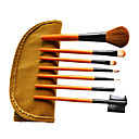 7 st ull makeup Brush Set med gratis brunt läderfodral