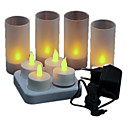 Warm Yellow Light LED oplaadbare Vlamloze Tea Light Candles (4-pack)