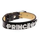 Buy Cat Dog Collar Adjustable/Retractable Rhinestone Prince Black PU Leather