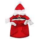 Christmas Santa Claus Style Winter Costumes Coat for Dogs/Cats (XS/S/M/L/XL,Red)