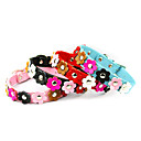 Beautiful Flowers Pattern Adjustable Fashionable PU Leather Dogs Collar (XS-L)