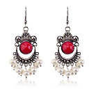 Buy European Style retro resin gem pearl Antique Silver Earrings
