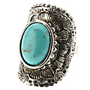 Women's Turquoise Geometric Arc Silver Ring