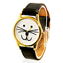 Kvinnors Cat Face Design Casual PU Band Analog Quartz Wrist Watch (Black)