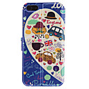 UK Bus Pattern PU Full Body Case with Card Slot and Stand for iPhone 5/5S