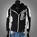 Men'S Contrast Color Print Hoodie Slim Sweater Outwear