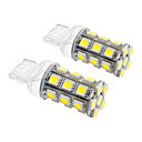 T20 5W 24x5060SMD 450LM 5500-6500K Cool White Light LED Bulb for Car (12V,2pcs)