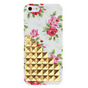 Novelty Design Golden Rivets Up-Stairs and Rose Pattern Hard Case with Nail Adhesive for iPhone 5/5S