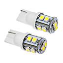 2 Pcs T10 1W 10x3020SMD 70-90LM 6000K Cool White Light LED Bulb (12V)