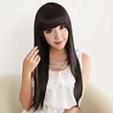 Capless Długi High Quality Synthetic Natural Black Prosto Wig włosów Full Bang
