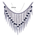Lureme®Multi Beads Tassel Statement Necklace