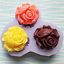 Three Holes Roses Flower Silicone Mold Fondant Molds Sugar Craft Tools Resin flowers Mould Molds For Cakes