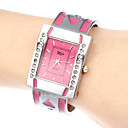 Wanita berlian buatan Rectangle Dial Steel Band Quartz Gelang Analog Watch (Assorted Warna)