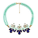 Fashion (Flower Pendant) Green Imitation Pearl Choker Necklace(Green) (1 Pc)