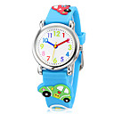 Children's 3D Cartoon Car Pattern Silicone Band Little Round Dial Quartz Analog Wrist Watch