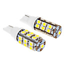 T10 3W 25x3020SMD 280LM 5500-6500K Cool White Light Bulb LED para carro (12V, 2pcs)