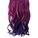 16 Inch Klip i syntetisk Purple Gradient Bølget Hair Extensions med 5 klip