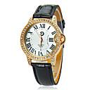 Femmes Blanc Dial PU bande de montre-bracelet à quartz analogique