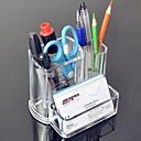 Acrílico 2em1 Transparente Pen Container escova Pot & cartão de visita titular caso