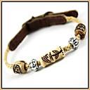 Khaki Retro Ægte Læder Perler Halsbånd til kæledyr Hunde (assorterede størrelser)