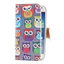 Owls Style Leather Case with Card Slot and Stand for Samsung Galaxy S4 Mini i9190