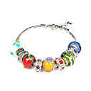 European Silicone 20cm Women's Multicolor Rhinestone&Alloy Charm Bracelet (1 Pc)