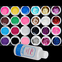 25PCS Mixs Cor Gel UV Cor dentro de 12 +12 Pure Glitter Hexagon Folha + Cleanser Plus (cor aleatória)