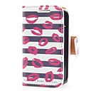 Kiss and Stripe Style Leather Case with Card Slot and Stand for Samsung Galaxy Y S5360