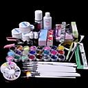 Buy 6Glitter UV Gel Cleanser Primer Nail Art Kit Set 1 Clear gel 14ml Top Coat Acrylic Remover 10Nail Tips 15 Brush