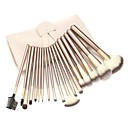 18PCS Three-color Nylon Hair Golden Handle Makeup Brush Set with PU Leather White Pouch