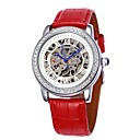 Women's Hollow Dial Diamond Silver Case Leather Band Auto-Mechanical Wrist Watch (Assorted Colors)