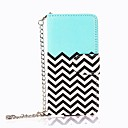 PU Leather Magnet Wallet Creadit Card Holder Flip Stand Chevron Waves Pattern Case for iPod Touch5