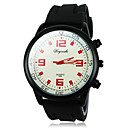 Men's Military Style Black Case Silicone Band Quartz Wrist Watch (AssortedColors)