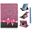 Leopard Grain and Bowknot Design PU Leather Full Body Case with Stand and Capacitance Pen for iPad Mini 1/2/3