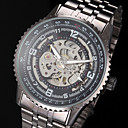 Men's Auto-Mechanical Fashion Hollow Dial Black Steel Band Wrist Watch