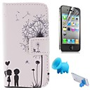 Couples Dandelion Pattern PU Leather Full Body Cover with Pig Stand and Protective Film for iPhone 4/4S