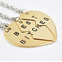Fashion Best Bitches Three Parts Of Broken Heart Pendant Alloy Pendant Necklace(Silver,Golden)(1 Pc)
