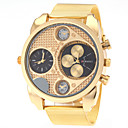 Men's Dual Time Zones Design Gold Steel Band Quartz Wrist Watch