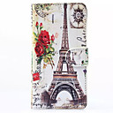 Hat-Prince Flower and Tower Pattern Protective Case with Card Slots and Stand for Samsung Galaxy A3
