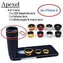 Apexel  4 in 1 Lens Kit 12X Black Telephoto Lens+Fisheye Lens+Wide-angle+Macro Camera Lens with Case for iPhone 6