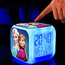 Frozen 7 Color Change Digital Alarm Clock LED Thermometer Night Colorful Glowing Toys