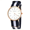 Unisex Casual Fabric Strap Gold Case Quartz Wrist Watch