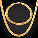 Buy U7®Foxtail Chain Necklace Bracelet 18K Real Gold Plated Vintage Chunky Fashion Jewelry Set