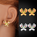 Buy U7® Cute Butterfly Earrings Red Green Rhinestone Crystals Jewelry Women 18K Gold/Platinum Plated Stud