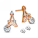 Fashion Iron Tower 925 Silver Sterling Zircon Pearl Stud Earrings(Rose Gold, White/2piece)
