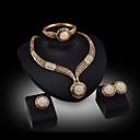 Buy Lucky Doll Women's Vintage 18K Gold Plated Zirconia Cut Necklace & Earrings Bracelet Ring Jewelry Sets