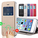 Solid Color Capa PU Leather + Tpu Smart Sliding Answer View Window Flip Full Body Case for IPhone 5/5S With Kickstand