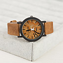Buy Fashion PU European Style Vintage Unisex Watches Wood Watch Men Women Wrist Cool Unique